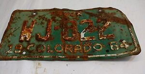 Colordao-License-Plate-WJ-822-Rusty-1964-Vintage-Antique