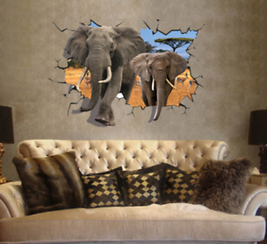 Details about 3D Elephant Vinyl Home Room Decor Art Wall Decal Sticker  Bedroom Removable Mural