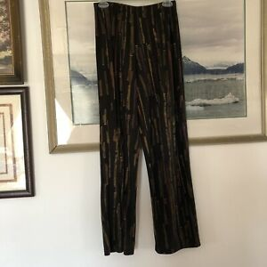 JG's Mad Lab Black Art To Wear Brushstroke Stripe Pants Sz S Vtg Lagenlook A2362