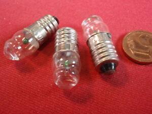 E10 Glühlämpchen mit LUPE im GLAS! 3,7V 0,3A für TASCHENANLAMPE<wbr/>!   3x  25094-160