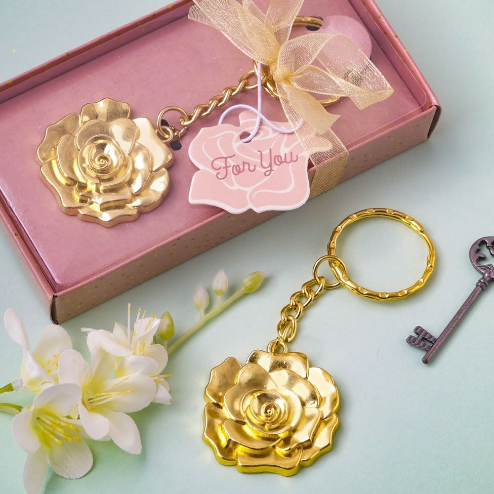 40 or Rose Metal Key Chain Wedding Bridal Baby Shower Birthday Party Favors