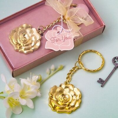 60 Gold Cheers Keychain Wedding Bridal Baby Shower Anniversary Party Favors