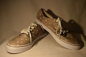fe5692203 NEW Women s Size 6.5 Vans Camden Stripe Taupe White Polka Dot ...