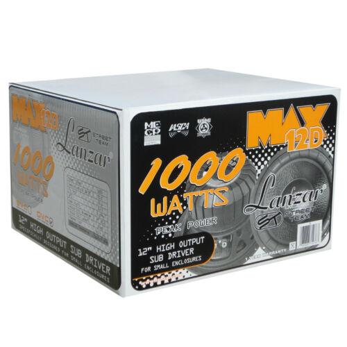 "Subwoofer Lanzar Max 12 /"" 30,00 CM 300 MM MAX12D 500 Watt RMS 4+4 Ohm Dvc Auto"