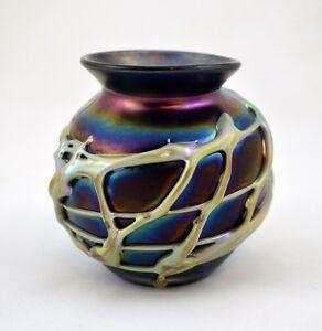 HERB A. THOMAS ART GLASS LAVA VASE SIGNED