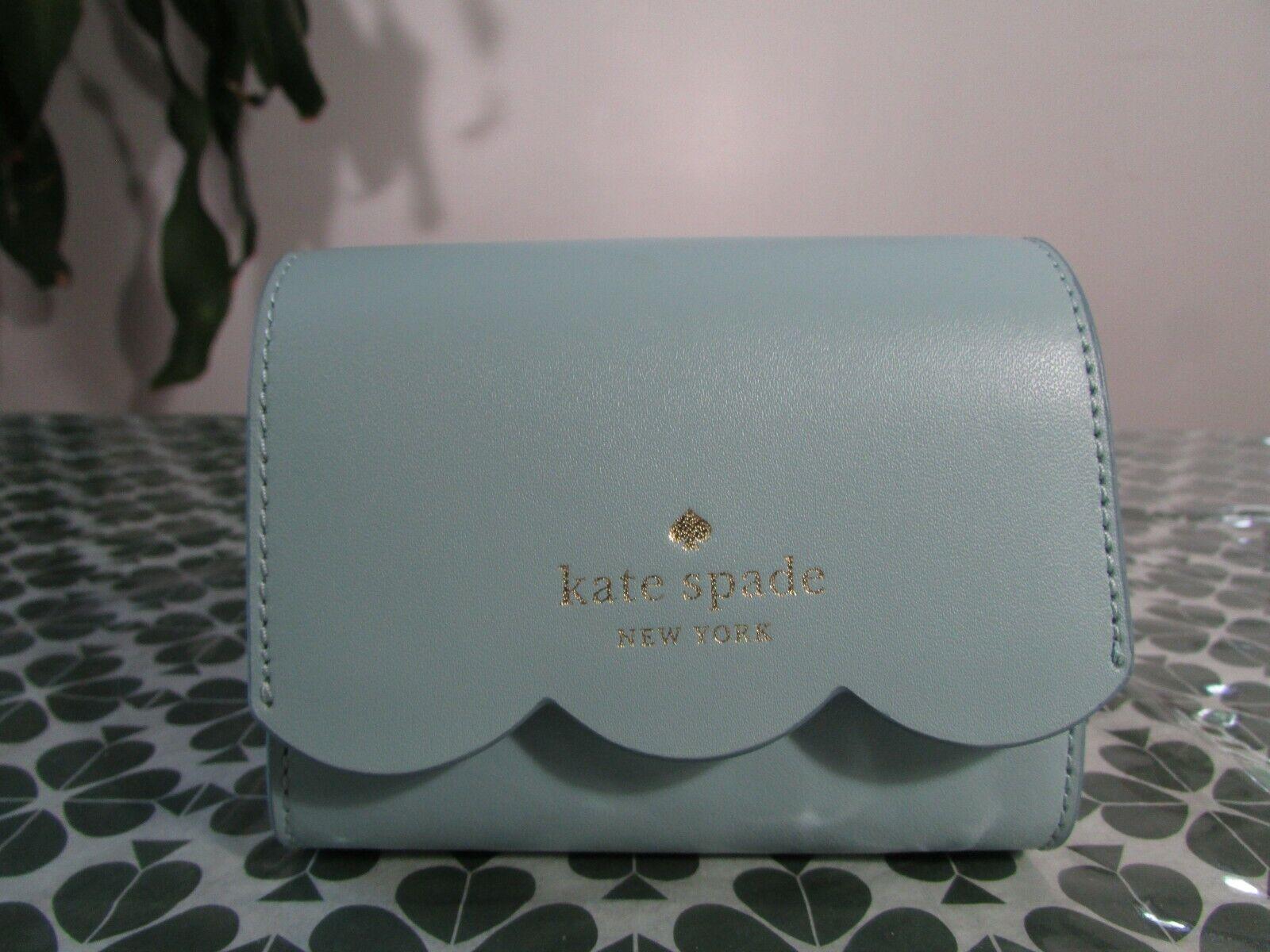 NWT Kate Spade Leather Gemma Small Flap Card Wallet Cloud Mist