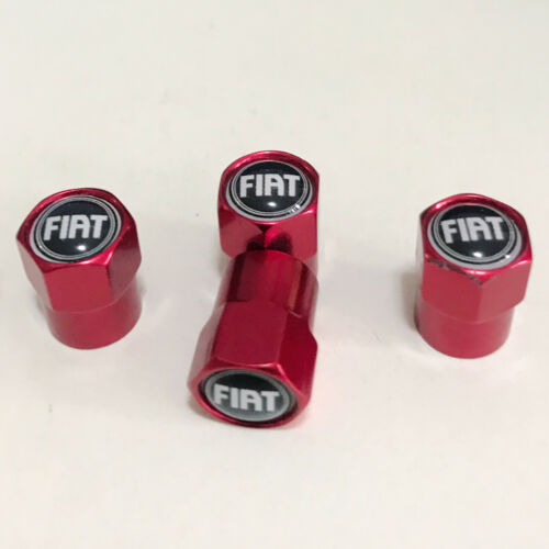 4PCS Sport Styling RED Tyre Valve Caps Accessories Tire Wheel Dust Cover FIAT