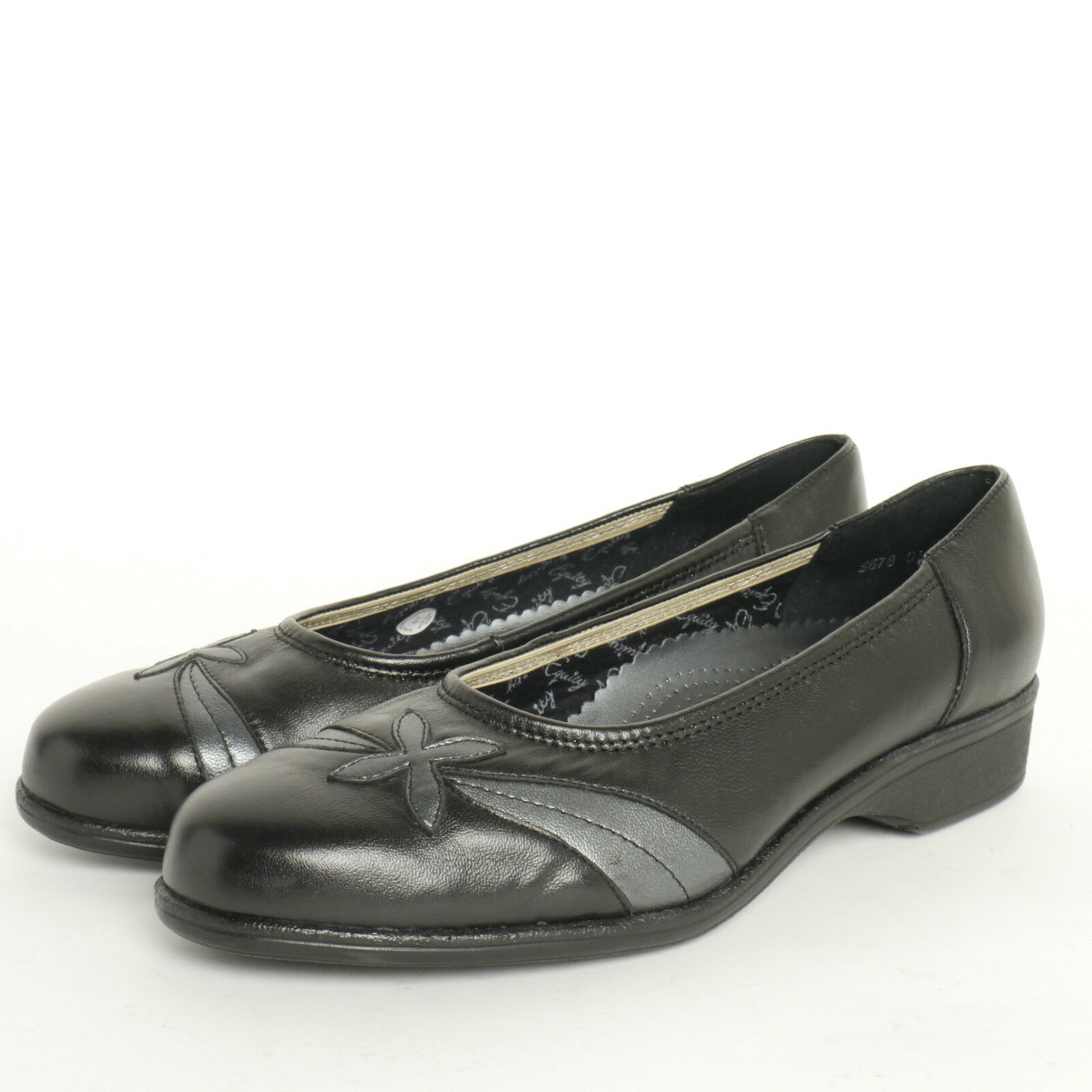 Ladies Equity Blenheim Black Leather Court shoes EE Fitting Leather Black