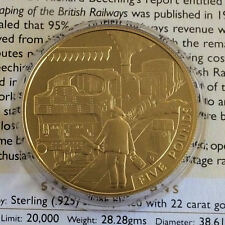 ALDERNEY 2006 BRANCH LINE 22 CARAT GOLD PLATED SILVER PROOF £5 CROWN