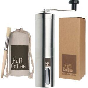 Manual Coffee Grinder Burr Hand Bean Spice Stainless Steel Adjustable Coarseness