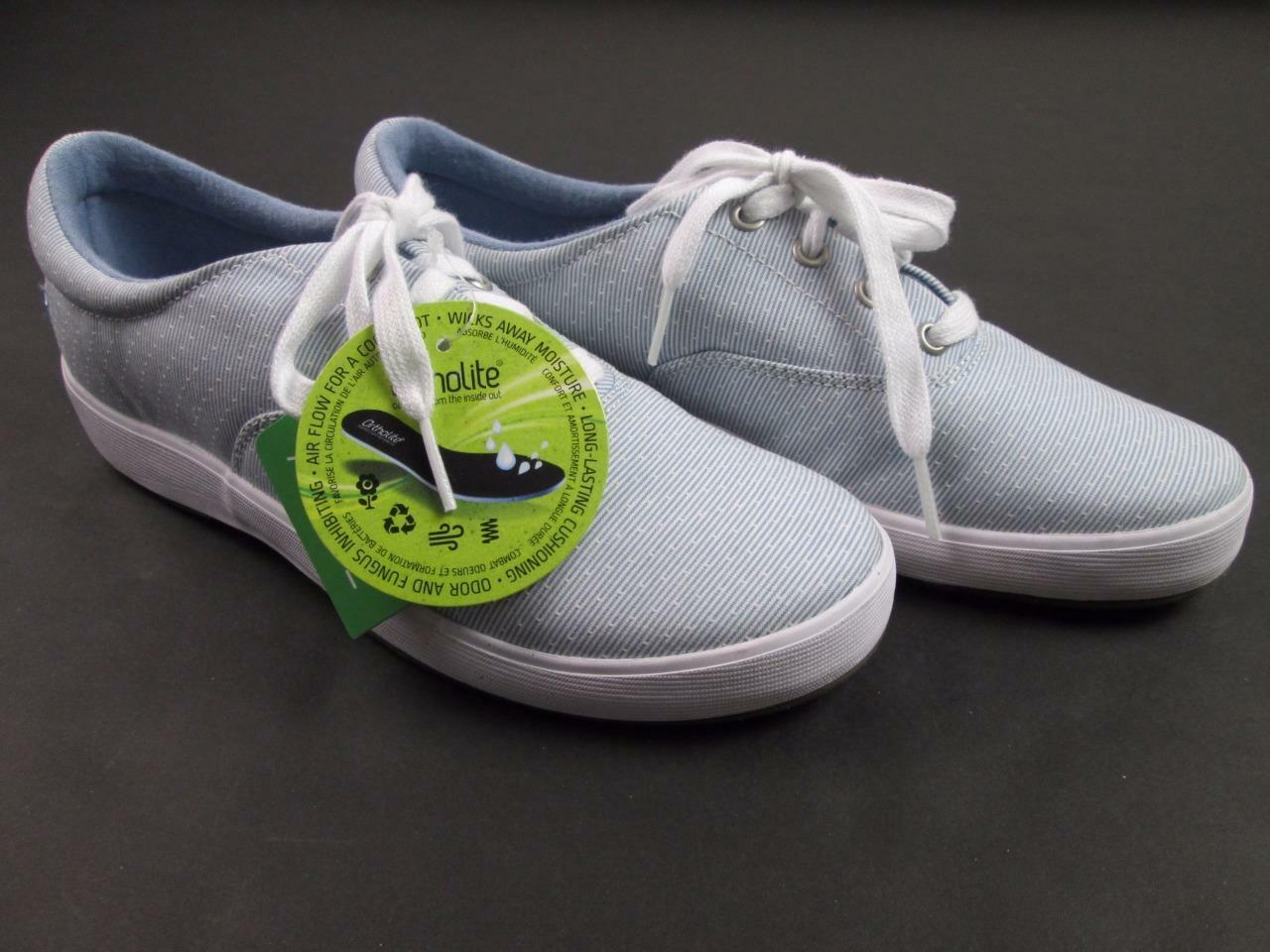GRASSHOPPERS WOMENS blueE WHITE ORTHOLITE WORK SNEAKERS TENNIS SHOE 6.5 NEW
