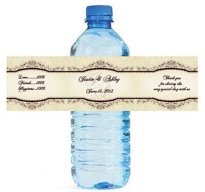 50 Elegant Vintage Wedding Water Bottle Labels Waterproof COLOR adhesive paper