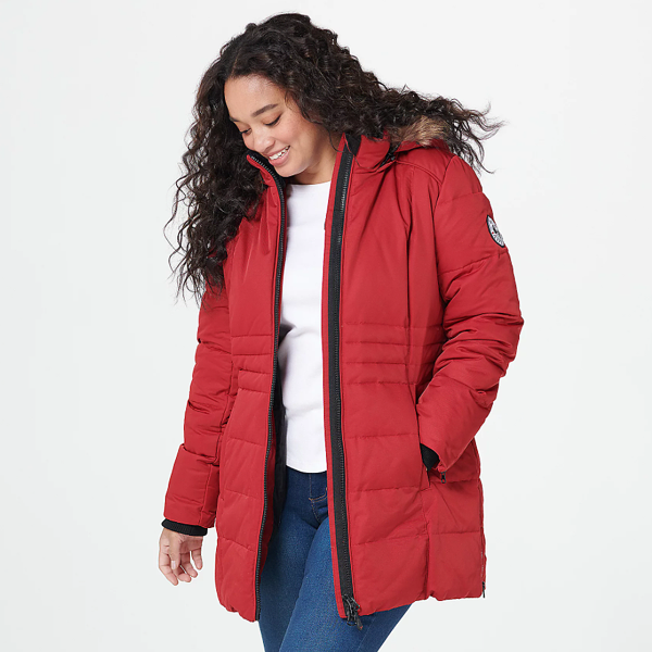 Arctic Expedition Quilted Zip Front Down Coat with Hood Chili Pepper