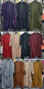 New-Ladies-Italian-Long-Jacket-Waterfall-Cardigan-Women-039-s-Trench-Coat-Plus-Size