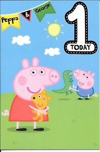 Details About Larger Size Peppa Pig George Pig 1st Birthday Card Age 1