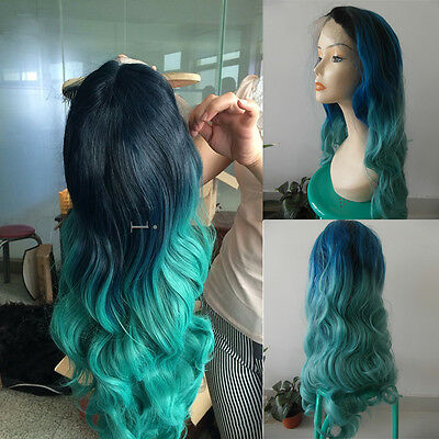 "24"" Heat Resistant Lace Front Wig Synthetic Hair Long Wavy 1B/Blue/Turquoise"