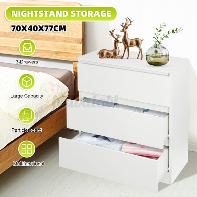 Dresser Chest of 3 Drawer Bedroom Storage Wardrobe Bedside Table Hallway Cabinet