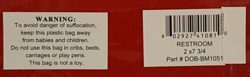 ALUMINUM SIGN SIZED 2/'/'X7.75/'/' BRUSHED ALUMINUM RESTROOM SIGN