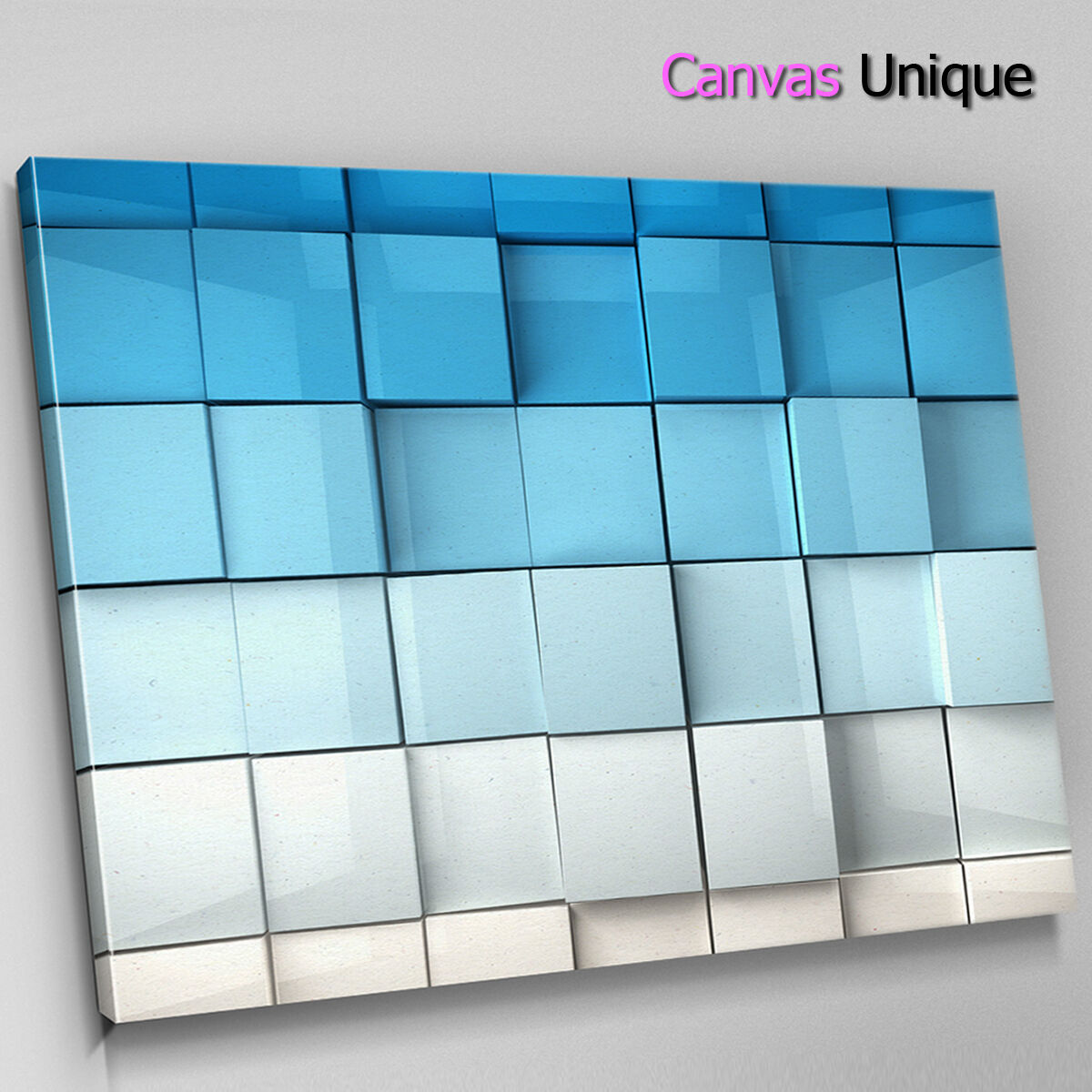 AB261 Blau 3d Squares Modern Abstract Canvas Wall Art Framed Picture Print
