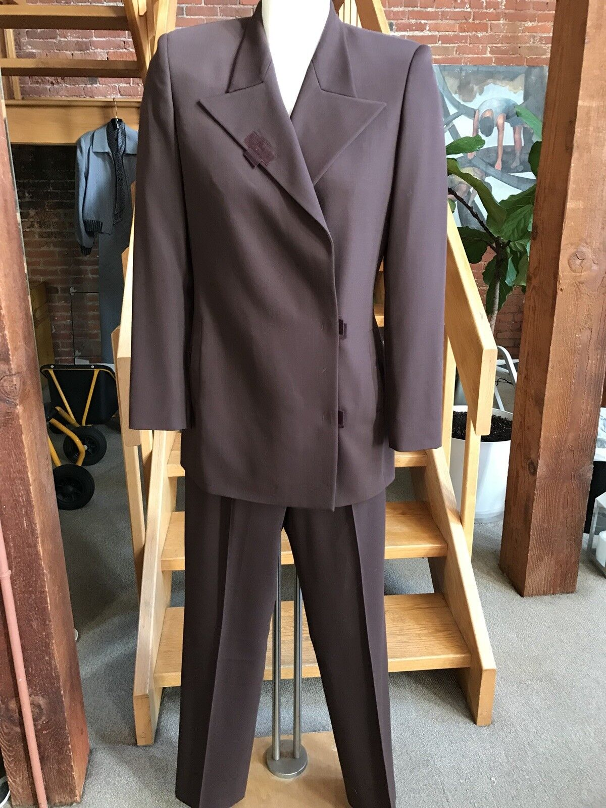 Jean Paul Gaultier Ladies Suit Plum Brown Wool Pant Suit Flat Front Velcro 6