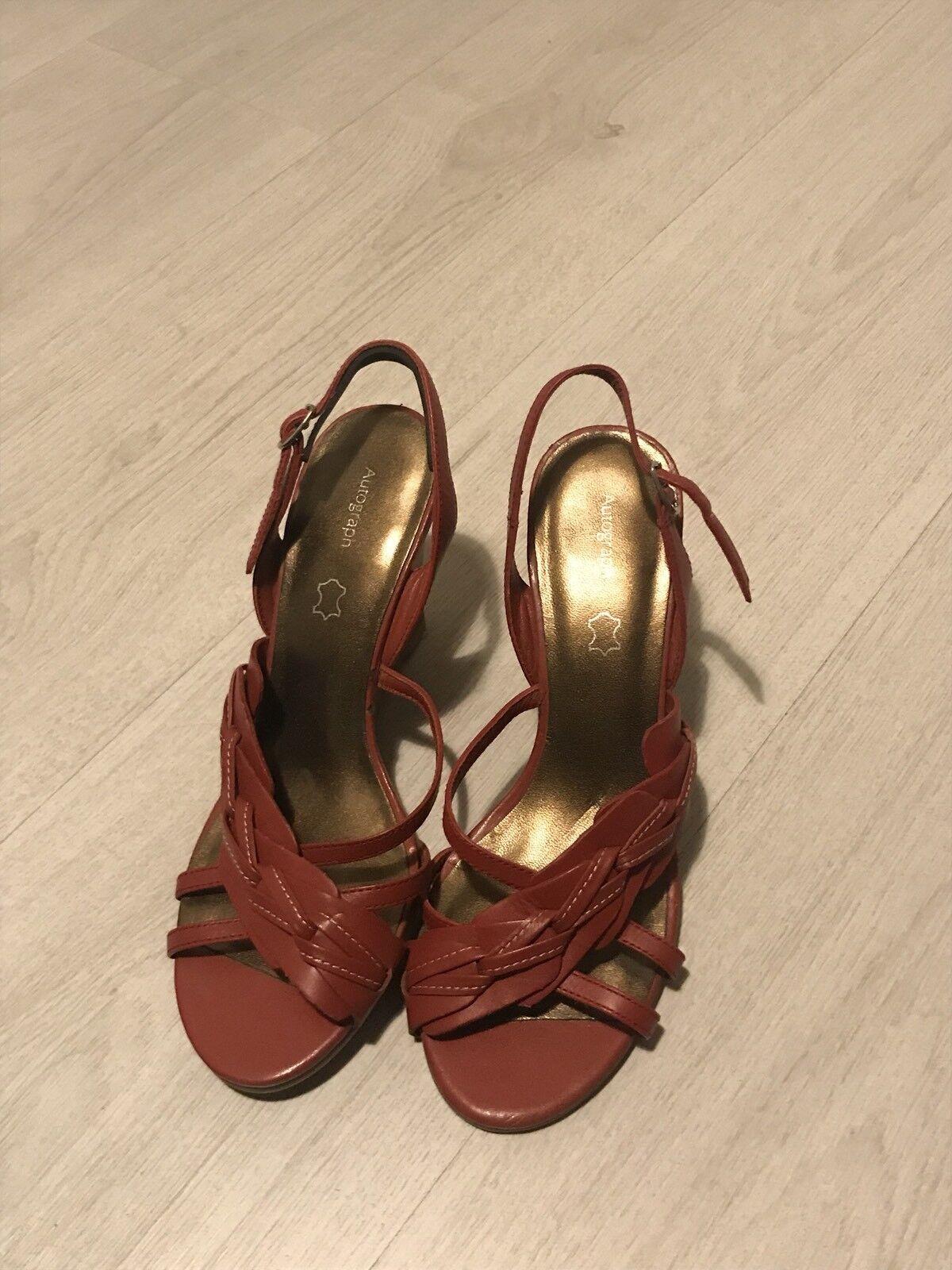M&S Autograph Open Dark Red Plait Detail Open Autograph Toe Leather Wedge Sandals Sz 4 63d936