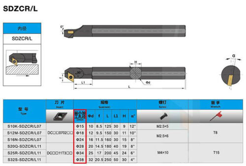 S12M-SDZCR07 12*150mm Lathe Turning Tool Boring Bar Holder for DCMT0702