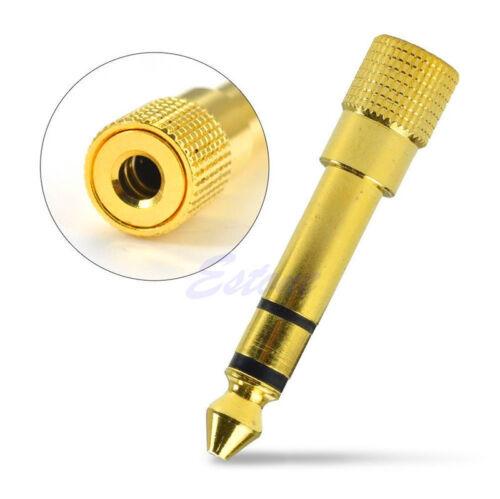 4x 3.5 Socket to 6.35mm Jack Plug Audio converter Headphone Adapter GOLD PLATED