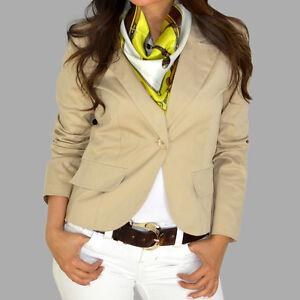 Roxy-Single-Breast-Cotton-Beige-Fitted-Suit-Jacket-Blazer-Top-S-M-L-Brand-NEW