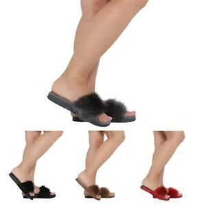 WOMENS-LADIES-FLAT-FULLY-FAUX-FUR-COMFY-SLIDER-SANDALS-SIZE-3-8