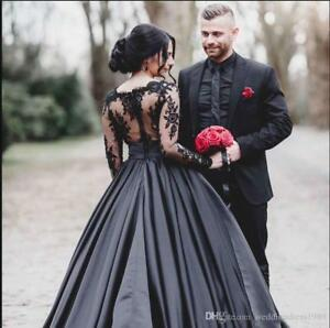 3f5c4c227c3d6 Image is loading Long-Sleeve-Black-Applique-Lace-Gothic-Satin-Wedding-