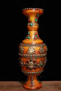 China-Antique-Tibetan-beeswax-handmade-mosaic-gems-vase
