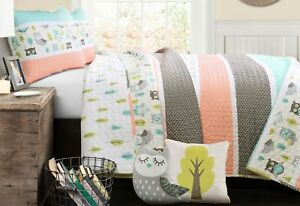 5pc-OWL-STRIPE-QUILT-SET-Twin-or-Queen-Woodland-Forest-Friends-Tree-LUSH-DECOR