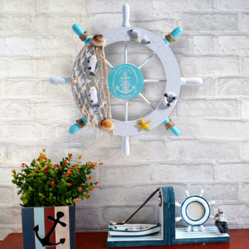 WINOMO Nautical Beach Wooden Boat Ship Steering Wheel Fishing Net Wall Decor