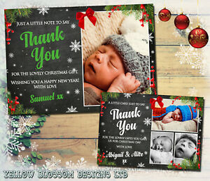 10-Personalised-Christmas-Thank-You-Cards-Pack-Envelopes-Photos-Xmas-Gift-Kids