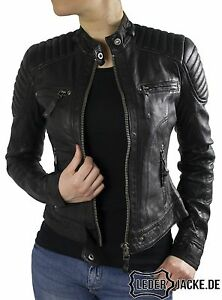 damen biker echt lederjacke scarlett in schwarz xs. Black Bedroom Furniture Sets. Home Design Ideas