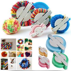 4-Size-Pom-pom-Maker-Fluff-Ball-Weaver-Knitting-Needle-DIY-Tool-Kit-Bobble-Craft