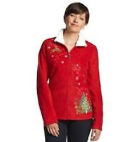 Breckenridge Holiday Christmas Fleece Zip Up Jacket Sweater Cardigan S M L & Xl