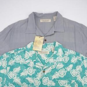 5c243e2b ISLAND REPUBLIC Lot of 2 Silk Button Front Hawaiian Camp Shirts Mens ...