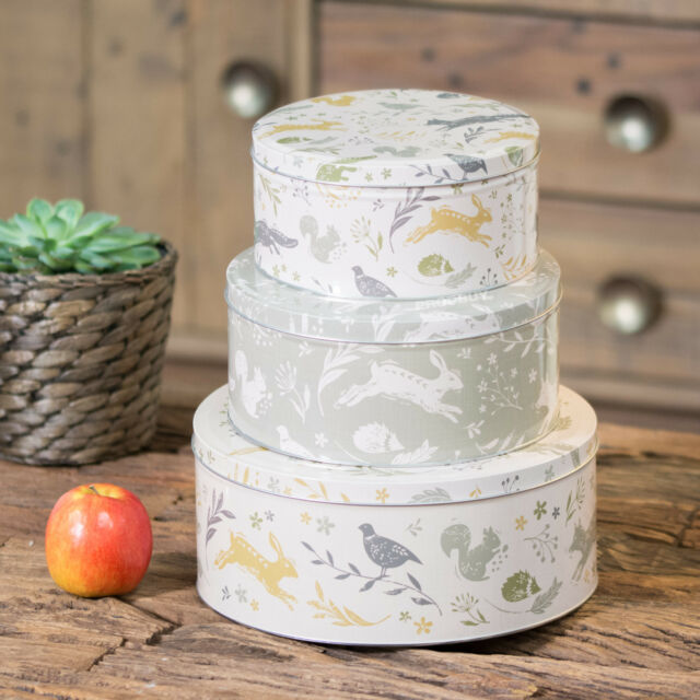 Set Of 3 Woodland Animals Round Cake Storage Tins Carriers Cads Sweet Biscuit