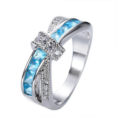 Aquamarine Blue CZ Cross Criss Ring White Gold Filled Wedding Jewelry Size 6-10
