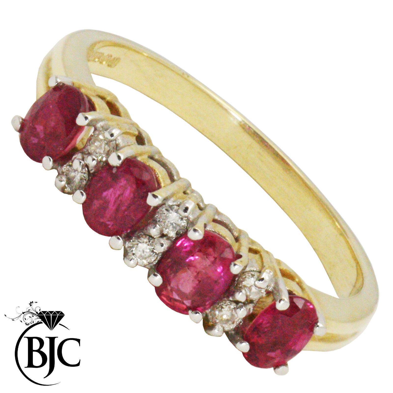 Bjc 9 Karat yellowgold Rubin & Diamant Ewigkeit GRÖSSE M Verlobung Kleid Ring R15