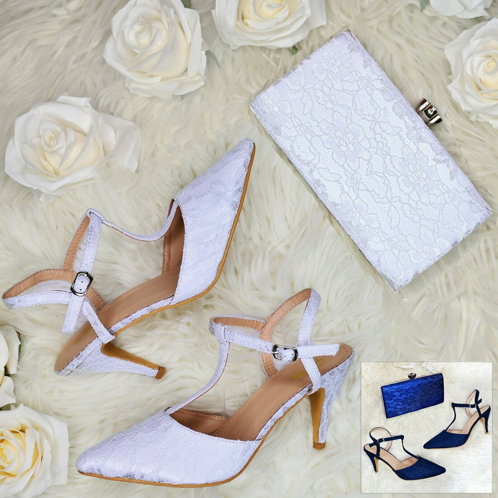 Womens Lace High Heel shoes + Matching clutch Bag, Evening Bridal Formal Sandals