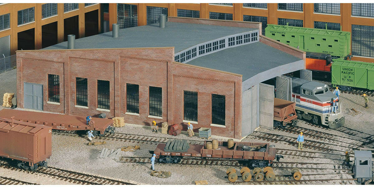 Walthers Cornerstone HO Scale Building Structure Kit Three Stall Roundhouse