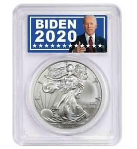 2020-American-Silver-Eagle-PCGS-MS70-in-Joe-Biden-For-President-Label
