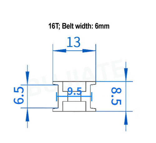 GT2-16T//20T Timing Idler Pulley 3//5mm Bore 6//10mm Belt Width For 3D Printer