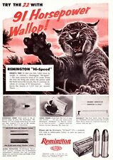 Vintage ad 1957 Remington 22 cal Hi Speed ammunition Bobcat Man Cave Art