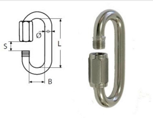 """2PC STAINLESS STEEL QUICK LINK  1//4/"""" CHAIN RIGGING MARINE GRADE M6"""
