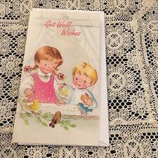 Vintage Greeting Card Get Well Cute Kids Birds Window
