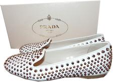 $990 PRADA White Leather Studed -Jewel Spike Smoking Slipper Flat Shoe 37-7