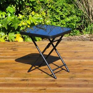Garden Furniture Glass Top Side Table Patio Rattan Foldable Drinks Coffee Black